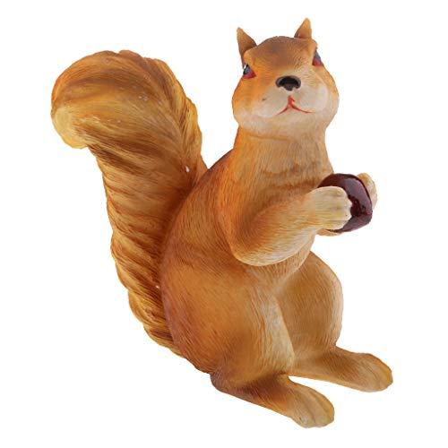 SM SunniMix Dekofigur Eichhörnchen mit Nuß süße Gartenfigur im Garten Geschenk für Kinder oder Eichhörnchen Liebhaber - C