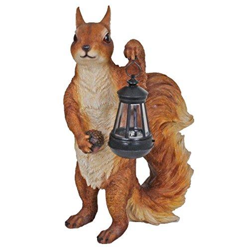 Unbekannt VARILANDO Solar-Tiere in 4 zuckersüßen Varianten Solar-Dekoration Gartendekoration Eichhörnchen Erdmännchen Ferkel Welpe Kätzchen Eichhörnchen mit Solar-Laterne