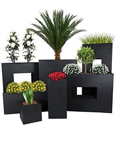PFLANZWERK Pflanzkübel TOWER Anthrazit 50x23x23cm Frostbeständiger Blumenkübel UV-Schutz Qualitätsware