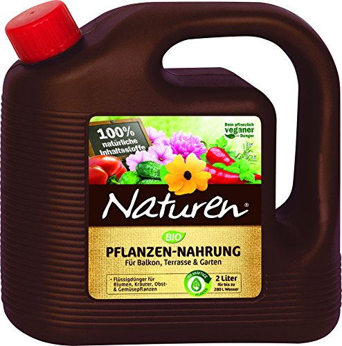 Naturen Bio Pflanzen-Nahrung Rein pflanzlicher veganer Universal-Flüssigdünger für Zierpflanzen Obst -Gemüse im Kübel auf Balkon Terrasse und Garten 2 Liter Kanister