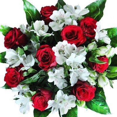 BlumenstraußVersenden mit Grußkarte mit neun roten Rosen und verzweigten weißen Alstromerien
