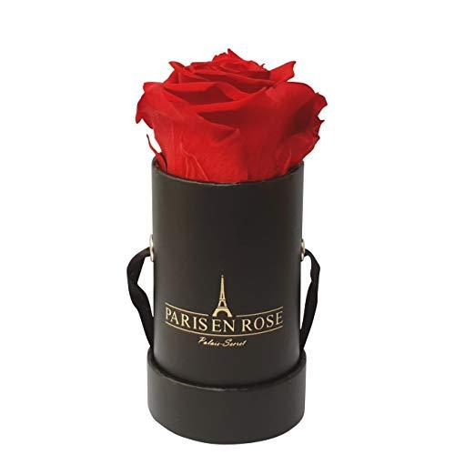 PARIS EN ROSE Mini Rosenbox Palais-Secret  schwarze Flowerbox mit roter Infinity Rose  1 konservierte Blume