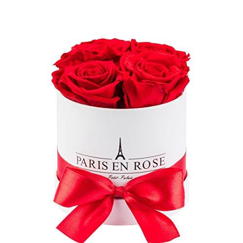 PARIS EN ROSE Original Petit-Palais Rosenbox Flowerbox mit konservierten Infinity weißes Bouquet mit roten Rosen