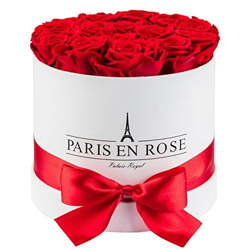 PARIS EN ROSE Rosenbox Palais-Royal  weiße Flowerbox mit roten Infinity Rosen  ca 15 konservierte Blumen