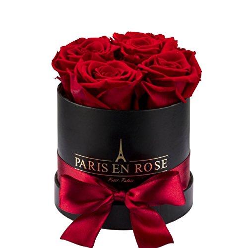 PARIS EN ROSE Rosenbox Petit-Palais  schwarze Flowerbox mit roten Infinity Rosen  4 konservierte Blumen