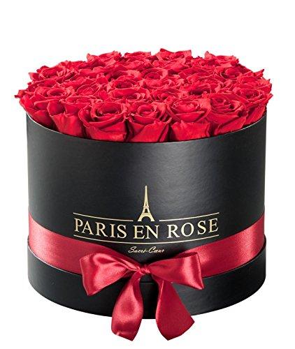 PARIS EN ROSE Rosenbox Sacré-Cœur  schwarze Flowerbox mit roten Infinity Rosen  ca 30 konservierte Blumen
