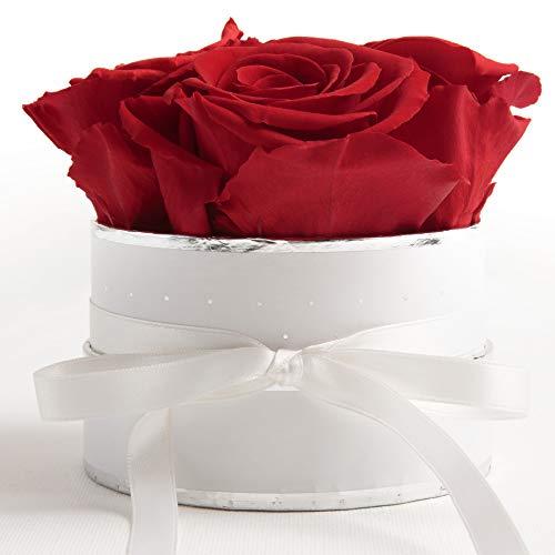 ROSEMARIE SCHULZ Heidelberg Flowerbox rund Infinity Rosen - Blumenbox Rosenbox in Weiß 4 konservierte Rosen Weiß-Rot