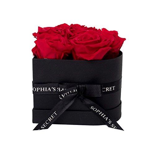 Rosenbox - 6 haltbare rote Rosen - Sophias Secret in herzförmiger Geschenkbox 12 x 9 cm schwarz matt