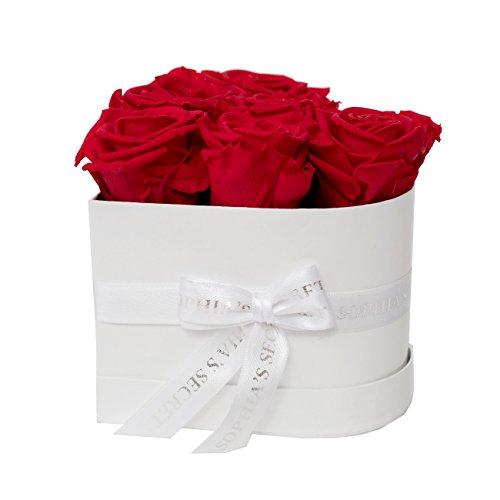 Rosenbox - 6 haltbare rote Rosen - Sophias Secret in herzförmiger Geschenkbox 12 x 9 cm weiß glanz