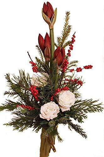 WINTERSTRAUß  Blumenstrauß  AMARYLLIS rot  ROSEN EXTRA GROß  FRISCHE Tanne Winterrose