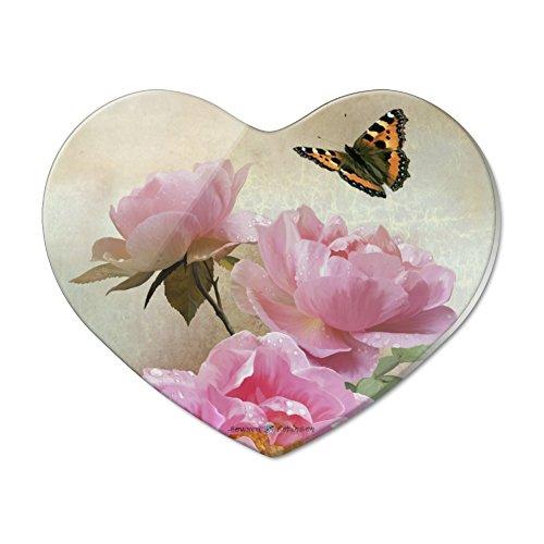 Kühlschrankmagnet aus Acryl mit rosa Rosen und Schmetterlingen