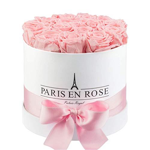 PARIS EN ROSE Rosenbox Palais-Royal  weiße Flowerbox mit rosa Infinity Rosen  ca 15 konservierte Blumen