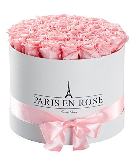 PARIS EN ROSE Rosenbox Sacré-Cœur  weiße Flowerbox mit rosa Infinity Rosen  ca 30 konservierte Blumen
