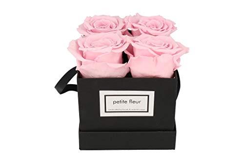 Petite Fleur Infinity Rosen Flowerbox S schwarz - quadratisch 10 x 15 cm - langanhaltende farbenprächtige rosa Blüten - 4 bis 5 konservierte Rosen