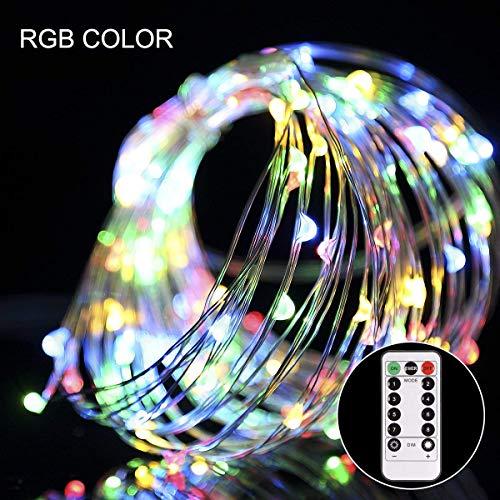 100 Led Lichterketten mit Batterie kupferdraht RGB mit Fernbedienung bunte flexible Kupfer Drahtlichterkette Batterienbetrieben Lichterkette innen für Weihnachten Deko Party Bar DIY Hochzeit Fest