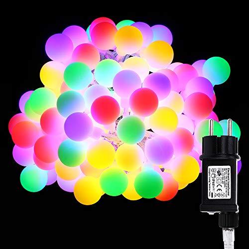 Globe Lichterkette Bunt VegaHome 10M 100er LED Kugel Lichterkette Innen Außen 8 Modi Strombetrieben RGB Lichterkette für Weihnachten Party Garten Hochzeit Balkon Deko MehrfarbigEnergieklasse A