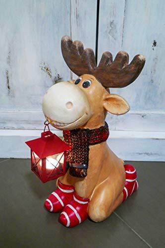 MW Handel Deko Figur Elch kniend mit Laterne Rentier Rudi 40 cm Weihnachten xmas