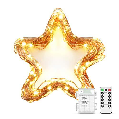 10M 100 LED Lichterkette OxaOxe wasserdichte Lichterkette warmweiß mit Batteriebetrieb Fernbedienung mit 8 Modi Timer Dekoration für Weihnachten Party Garten Balkon usw 1 Pack