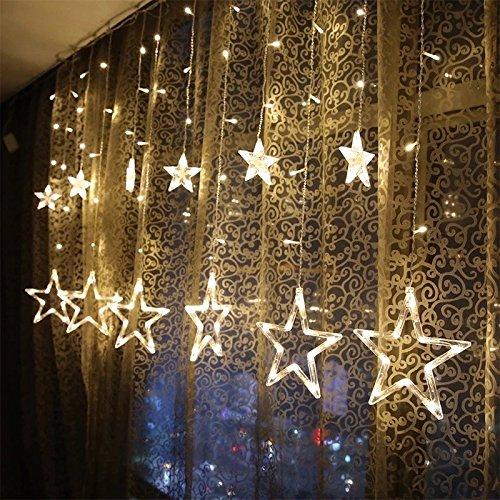 KINGWILL Stern Vorhang Lichter 12 Sterne 138pcs LED Fenstervorhang Lichter Mit 8 Blinkenden Modi Dekoration für Weihnachten Hochzeit Party Haus Terrasse Rasen Warmes Weiß