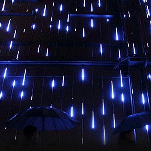Minger LED Lichterkette Blau 30cm Meteorschauer Röhren 8 Tube 144 LEDs 100V-240V Deko Leuchten LED für Außen Garten Bäume Weihnachten Dekoration EU Stecker Blau