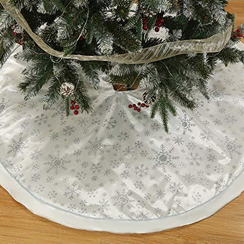 Weihnachtsbaum Decke Rentier Gedruckt Weihnachtsbaum Rock Dekoration Schneeflocken Weihnachtsbaumdecke Elch Weihnachtsbaum Röcke Weihnachtsschmuck Weihnachtsbaum Deko Weihnachtsdeko Weiß 120cm