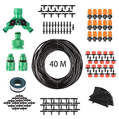 FIXKIT 40M Automatik Micro Drip Bewässerung Kit Bewässerungssystem geeignet für Gartenbewässerung und DIY mit automatischem Sprinkler