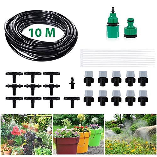 Migimi Bewässerung Kit Bewässerungssystem DIY Wasser Set Micro Drip System Automatische Sprinkler Tröpfchenbewässerung Gartenbewässerung für Garten Landschaft Flower Bed Terrasse Pflanzen - 10M