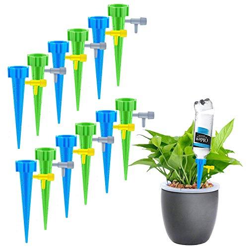 12 Stück Automatisch BewässerungBewässerungssystem Zimmerpflanzen Wasserspender mit Slow Release Control Ventil Schalter für Keramik Zimmerpflanze Spikes Bewässerung Bonsai Pflanzen Blumen