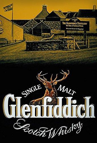 Glenfiddich Single Malt Scotch Whisky distillerie distillary Etikett Alkohol Metal Sign deko Sign Garten Blech