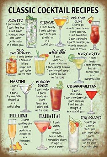 Schatzmix Classic Cocktail Recipes Rezepte übersicht Metal Sign deko Sign Garten Blech