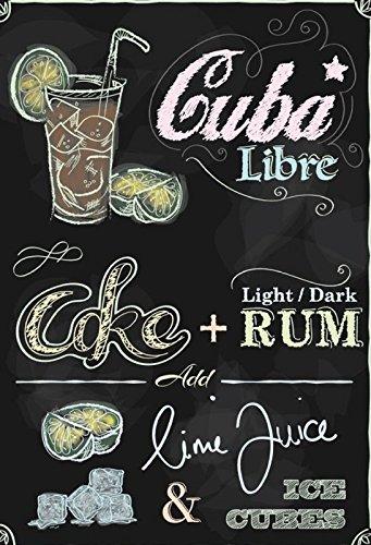 Schatzmix Cocktail Rezept Recipe Cuba Libre Rum Cola schwarz Hintergrund Metal Sign deko Sign Garten Blech