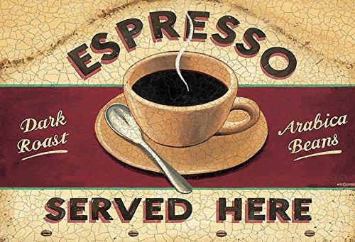 Schatzmix Espresso Served Here Dark Roast Arabica Beans Kaffee Metal Sign deko Sign Garten Blech