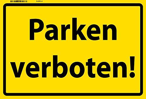 Schatzmix Parken Verboten Warnschild Gelb Metal Sign deko Schild Blech Garten
