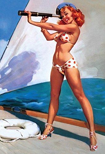 Schatzmix Pinuppin up sexy Frau am Boot Schiff Yacht mit fernglas Erotik Metal Sign deko Sign Garten Blech