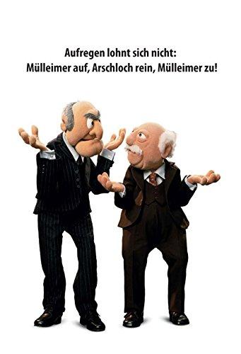 Schatzmix Waldorf Statler Muppets - Aufregen lohnt Sich Nicht Lustigs Spruch Metal Sign deko Sign Garten Blech