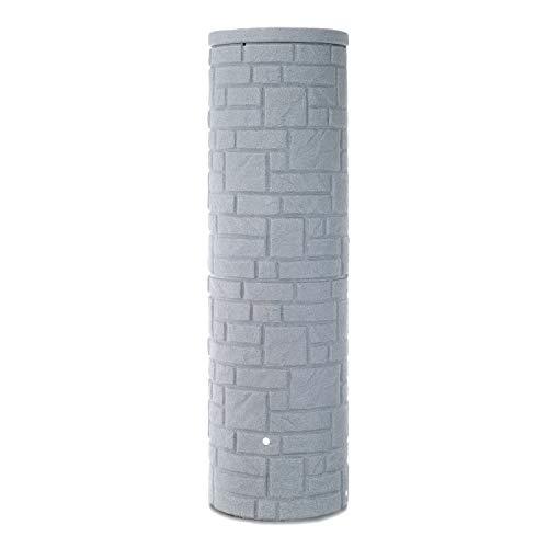 Regentonne grau Regenwassertank Arcado 460 Liter Farbe granit aus UV- und witterungsbeständigem Material Regenfass bzw Regenwassertonne mit kindersicherem Deckel und hochwertigen Messinganschlüssen