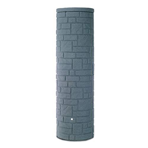 Regentonne rund Regenwassertank Arcado 460 Liter anthrazit aus UV- und witterungsbeständigem Material Regenfass bzw Regenwassertonne mit kindersicherem Deckel und hochwertigen Messinganschlüssen