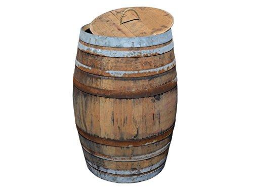 Temesso Regentonne Regensammler Weinfass Barrique aus Eiche 225 Liter - rustikal Regenfass offen  Deckel Kordel