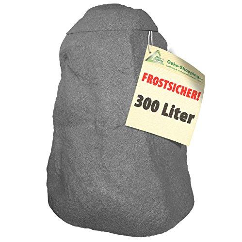 WINTER SCHLUß-VERKAUFRegentonne Fels stein-grau 300lFROSTSICHERES Regenfass mit Deckel und Wasserhahn DAS ORIGINAL