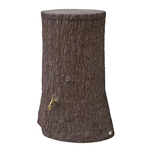 Regentonne rund Regenwassertank Little Tree 250 Liter Farbe braun aus UV- und witterungsbeständigem Material Regenfass bzw Wassertank mit kindersicherem Deckel und hochwertigen Messinganschlüssen