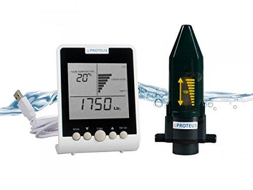 Füllstandsanzeige für Zisterne Regenwassertanks Ultraschall Füllstandssensor batteriebetrieben mit separatem Funk-Display - EcoMeter S - Funkübertragung bis zu 150m