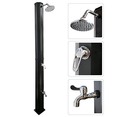 Nemaxx SD35F Solardusche - schwarz Gartendusche mit UV-beständigem Wassertank 35 Liter - mit Fußdusche  Wasserhahn und schwenkbarem Regenduschkopf