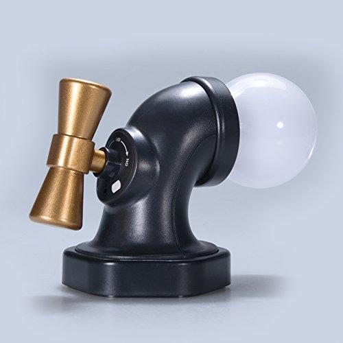 DSstyles LED-Wandleuchte für SchlafzimmerToilette antikes Wasserhahn Sprachsteuerung Nachtlicht wiederaufladbar USB Schwarz