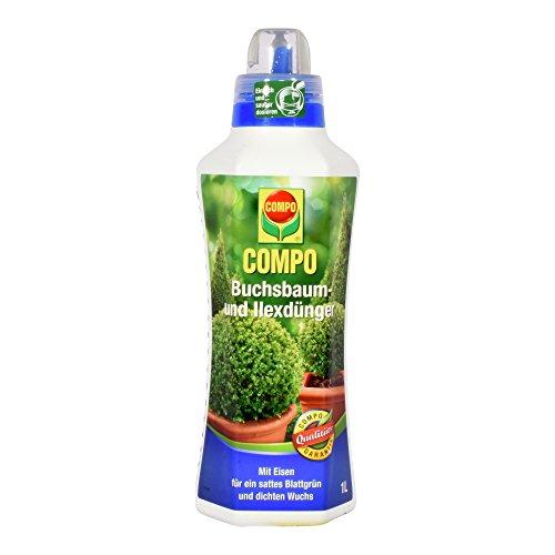 COMPO Buchsbaum- und Ilexdünger für alle Buchsbäume auf Balkon Terrasse und im Garten Spezial-Flüssigdünger mit extra Eisen 1 Liter