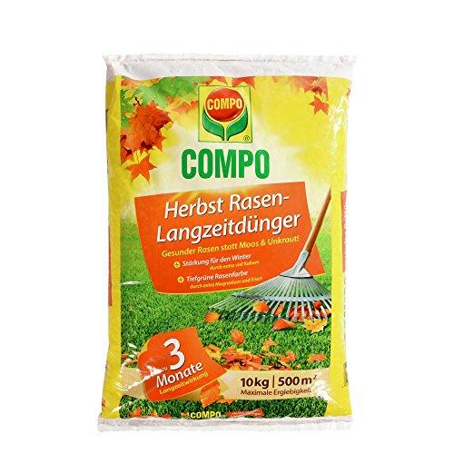 COMPO Herbst-Rasen Langzeit-Dünger 3 Monate Langzeitwirkung Feingranulat 10 kg 500 m²