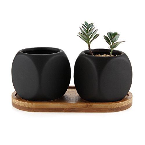 Rachels Choice 2 Stücke Set Sukkulente Pflanzen Töpfe mini Kaktus Blumentopf mit Bambus-Untersetzer - Matt Würfelformig Schwarz