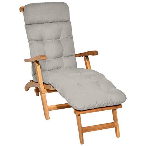 Beautissu Auflage für Deckchair Flair DC 200x50x8 cm Liege-Stuhl Polster-Auflage mit Schaumflockenfüllung Hell-Grau in verschiedenen Farben erhältlich