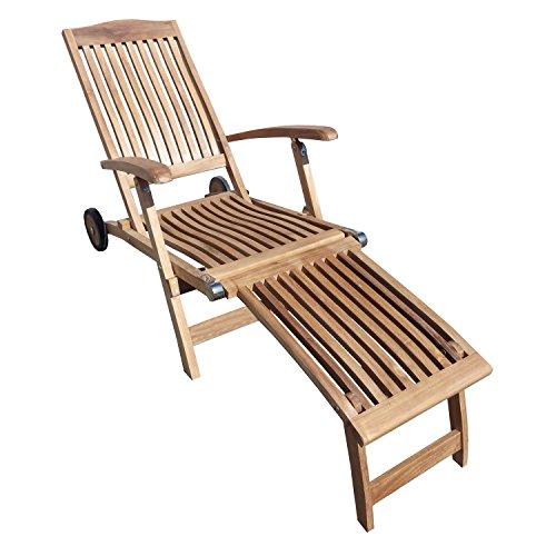 Beho Natürlich gut in Holz Deckchair 2945 ergo mit Rädern 148x60x97cm Teakholz selected Kernholz unbehandelt zusammengebaut