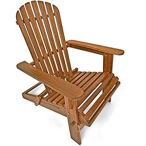 Deuba Sonnenstuhl Adirondack  Akazienholz klappbar abgerundete Armlehnen  Deckchair Liegestuhl Holzstuhl Gartenstuhl