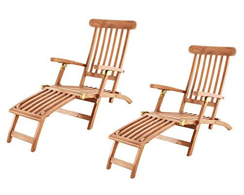 SAM 2er Set Teak-Holz Deckchair Puccon verstellbare Sonnenliege klappbar ideal für Balkon Terrasse und Garten